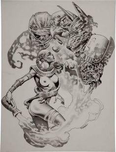 Thomas giorello Egyptian Fantasy, in Roland Benton's Tomas giorello Comic Art Gallery Room Fantasy Concept Art, Fantasy Character Design, Fantasy Artwork, Frank Frazetta, Comic Books Art, Comic Art, Black And White Artwork, Fantasy Comics, Call Art