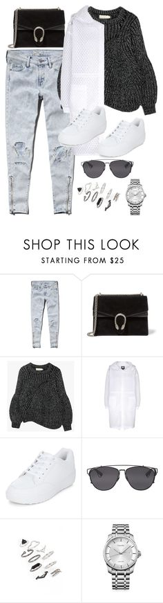 """""""Untitled #9528"""" by katgorostiza ❤ liked on Polyvore featuring Abercrombie & Fitch, Gucci, Topshop, New Look, Christian Dior and Calvin Klein"""