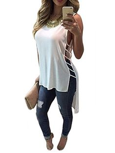 Anermy Women Slit Open Side Sleeveless Hollow Casual Loose Long Chiffon Tops T-shirt White Large  Special Offer: $2.98  222 Reviews Product Information:The size information is as the last picture show,2-3 cm errors,2-3 cm errors.Sleeveless,irregular hem,round neck,fashion sexy...