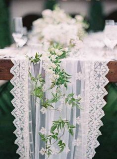 Farm Table Garland Inspiration (but not quite this sparse, but keep it fairly simple). Maybe eucalyptus + vines?