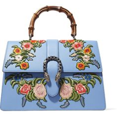 Gucci Dionysus Bamboo large appliquéd leather tote ($4,500) ❤ liked on Polyvore featuring bags, handbags, tote bags, light blue, light blue purse, light blue handbags, floral tote bag, gucci purses and leather handbags
