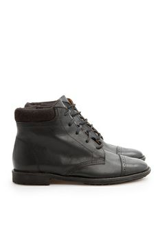 Leather brogue ankle boots