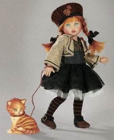 Riley City Chic BJD Avec Cat, peints à la main par Helen Kish, Kish & Company