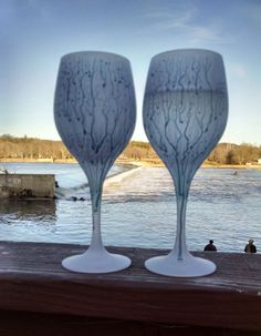 MysticLand Stemware, Trinkles Goblets,Permanent Luster Colored Frosted Crystal Glass, Romantic Dinner,Wedding glassware, Housewarming Gifts by MysticLandPainted on Etsy
