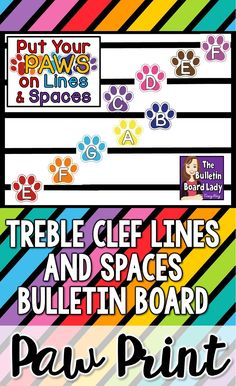 This music bulletin board is a PAWSitively brilliant way to display the treble clef lines and spaces. In a colorful paw print theme, this bulletin board will be one that you'll keep up all year long. Elementary Music, Upper Elementary, Kindergarten Music, Preschool Music, Music Classroom, Classroom Decor, Classroom Organization, 2nd Grade Music, Sixth Grade