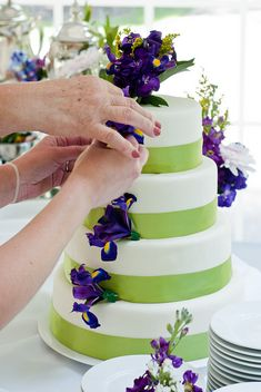 Simple purple and green wedding cake by coolsneakers2000, via Flickr