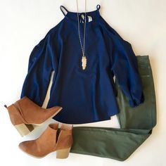 Love this navy and olive combo for fall!