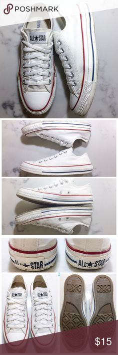 CONVERSE White All Stars CONVERSE White All Stars with red and blue lines on the sole. These are pretty clean and white still and we're just bleached so they smell and look good. These have been worn around water a lot so the bottom of the rubber soles is coming slightly detached as can be seen in the last photo. It's really only noticeable if you deliberately pull it back though and you can't tell when it's worn. Other than that these are in good shape. Women's size 8. Listed cheaper on…