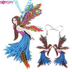 Bonsnyブランドアクリル天使妖精ネックレスイヤリングジュエリーセットchoker襟ファッションジュエリー2016ニュース女性ガールギフト