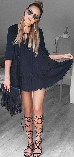 #summer #american #style | Festival Little Black Dress