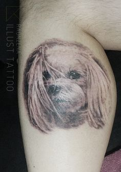 maltese tattoo, puppy tattoo, dog tattoo by. raonzena illust tattoo