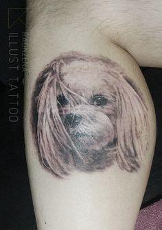 Dog portrait tattoo  by. RAONZENA tattoo www.raonzena.co.kr