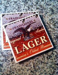 Beer Coasters Gift for Beer Drinker Yuengling by BriarBeachDesigns