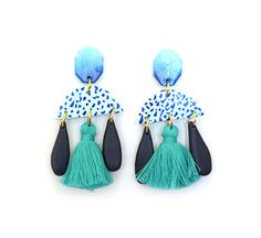 Handmade polymer clay earrings on surgical steel backs. These are a great statement earring and are very light on the ears  These are handmade so they may not look exactly like this image.