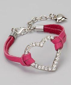 Silver & Fuchsia Heart Bracelet