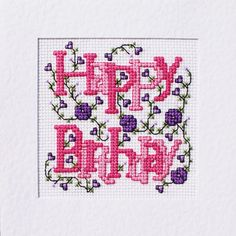 90 Aniversario Rosa Cross Stitch Kit de tarjeta por florashell