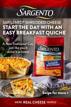 Quiche is an easy brunch favorite – especially when it's made with Sargento's fresh-off-the-block shredded cheese. Try Sharp Cheddar for a classic accompaniment to in-season veggies. Try adding whole-wheat crust boosts your fiber for the day. Easy Brunch Recipes, Breakfast Recipes, Diet Recipes, Cooking Recipes, Diet Meals, Diet Tips, Good Food, Yummy Food, Salads