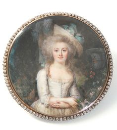 miniature portrait by Adolph Hall- France, Circa 1790