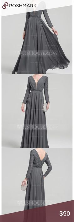 Princess V-neck Floor-Length Chiffon Dress Princess V-neck Floor-Length Chiffon Evening Dress with Beading Sequins!                                                     Color: Dusty Rose.                                                                Plus Size: 18W                                                                       US Size Chart Inches: Bust 45, Waist 38 1/2, Hips 47 1/2 Dresses Wedding