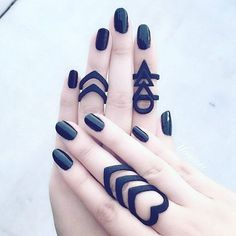 Takin' it back to Matte Black! ✖ @yoomei is werkin her 'Hunt' and 'Rune' #midis and 'Corrupt' #ring! //SHOP: therogueandthewolf.com