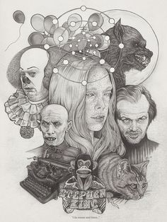 Martine Johanna made one hell of a collage of characters from films adapted from Stephen King novels