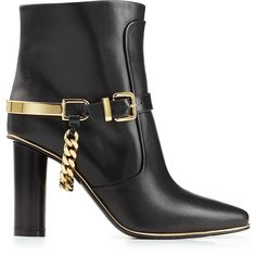 Balmain Leather Ankle Boots ($1,355) ❤ liked on Polyvore featuring shoes, boots, ankle booties, pointy toe booties, chunky-heel boots, pointed toe bootie, pointed toe booties and short boots