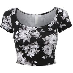 LE3NO Womens Fitted Short Sleeve Scoop Neck Crop Top with Stretch ($3.80) ❤ liked on Polyvore featuring tops, crop top, shirts, fitted tops, crop shirts, stretch tops, shirt crop top and stretchy tops