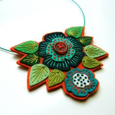 Etsy Transaction - Felt pendant 'STATEMENT' necklace with freeform embroidery on co-ordinating wire necklace