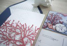 Laser cut coral for a beach themed wedding invitation