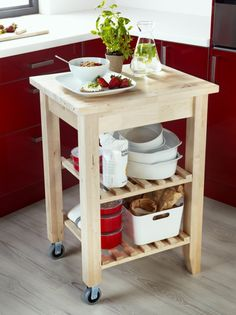 Is your kitchen too small for an island? A kitchen cart, like BEKVÄM, can be just as useful. Plus, the shelves give you even more portable storage space. Small Kitchen Cart, Kitchen Trolley, Diy Kitchen Island, New Kitchen, Kitchen Storage, Ikea Kitchen Cart, Ikea Bekvam, Home Decor Kitchen, Rental Kitchen