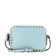 Valentino Rockstud Leather Cross-Body Bag (4,625 AED) ❤ liked on Polyvore featuring bags, handbags, shoulder bags, blue, blue leather purse, blue leather handbag, leather crossbody purse, leather crossbody handbags and leather purse