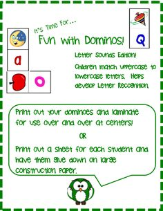 A great way to have your students practice their letter sounds.You can use this two different ways:Print a few color sets and laminate. Then have your kids use them at centers.ORGive each kid their own set. Have them cut out their dominoes and glue to large construction paper. There will be extras.
