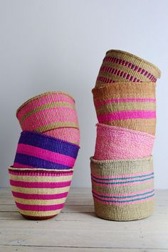 Kenyan basket: Pink Collection from Decorator's Notebook Handmade Furniture, Summer Colors, Basket Weaving, Woven Baskets, Seagrass Baskets, Bamboo Weaving, Home Accessories, Creations, House Styles