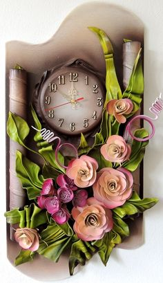 Unique 3D Leather Art Roses and Hydrangeas  with Clock. www.makmarketplace.com  This Unique Leather  Clock collection we call Wave of the Sea. This beautiful Clock suit any taste or fit any home and office decor. These very unique Leather Clock with Flowers have a  high quality embellished work . Hand crafted.  https://plus.google.com/communities/107298104499962573861  https://www.facebook.com/pages/MAK-Marketplace/331889076912354  http://www.pinterest.com/MAKMarketplace/
