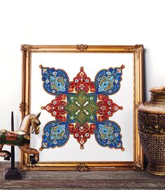 Ottoman Floral Watercolor Painting, Traditional Turkish Tile Wall Art, Mosque Tile Design Home Decor, Istanbul Prints and Original Painting