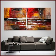 72 Large Abstract Painting Red Black and White by largeartwork