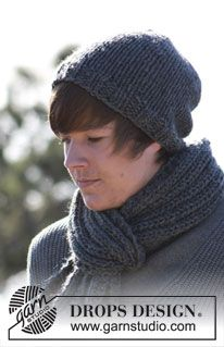 "Basic DROPS mens hat in stockinette st and scarf in rib in ""Andes"". ~ DROPS Design"