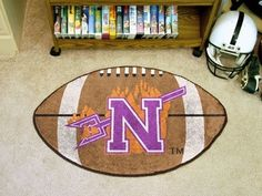 Northwestern State NSU Demons Football Shaped Area Rug Welcome/Bath Mat