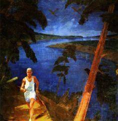 Gallery.ru / Фото #5 - Чупятов Леонид Терентьевич (1890-1941) - Пейзаж  с  красным  деревом.  Бег.