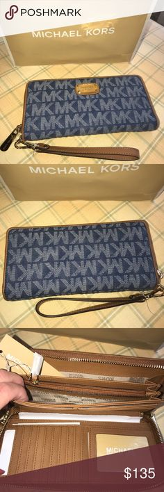 🆕Authentic Micheal Kors denim Large Wristlet Bundle and save on this adorable Authentic MK denim large fabric Wristlet Ships same or next day Michael Kors Bags Clutches & Wristlets