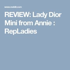 REVIEW: Lady Dior Mini from Annie : RepLadies