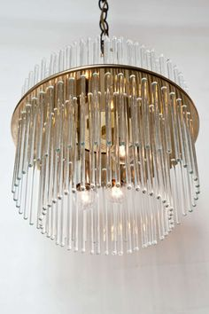 Gaetano sciolari round glass rod nickel chandelier ljuskronor glass rod and brass chandelier by lightolier audiocablefo