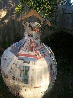 Princess Tiana inspired piñata in the making