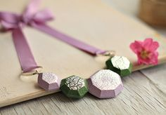 Lilac and Green Statement Necklace - Handmade Polymer Clay Necklace