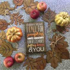Cute Autumn Decor I Fall For Pumpkin wooden sign