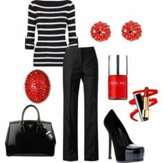 Business casual...except for the shoes...platform stilettos are never business casual.