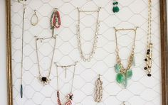 DIY Chicken wire necklace organizer.