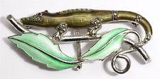Vintage Art Deco Sterling Silver Ornate Marcasite Enamel Lizard Leaf Brooch Pin