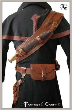 Witch Hunter set by Fantasy-Craft on DeviantArt Leather Mask, Leather Pouch, Leather Armor, Leather Tooling, Fantasy Craft, Hunter Outfit, Cloak And Dagger, Vampire Hunter, Suit Of Armor