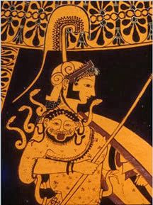 Athena with Medusa head on her shoulder.here I believe truly that this was a warrior mask worn in battle and that Medusa and Athena are one in the same. Just my opinion. Ancient Greek Art, Ancient Greece, Medusa And Athena, Athena Goddess, Black Figure, Medusa Head, Minoan, Ancient Symbols, Greek Gods